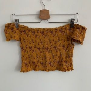 3/20$ Off-The-Shoulder Yellow Floral Crop Top